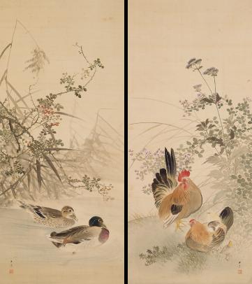 鴨鷄図 川端玉章筆