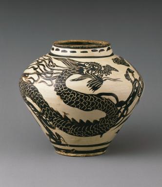 白釉鉄絵龍鳳文壺(中国)