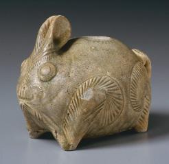 灰釉兎形壺(クメール)